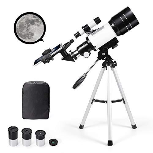 Telescopio astronómico Zoom 150X HD Refractor de ciencia educativa monocular telescopio espacial con trípode 300 70 mm alcance de detección para niños principiantes – Uverbon