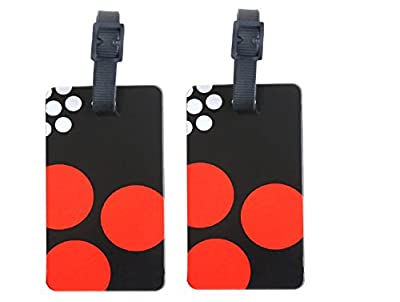 ORB Travel-PT209-Polka Dots-Black/White/Red- 2-Pack Luggage Name Tags ID Label Set of 2 Tags Business Card Suitcase Label