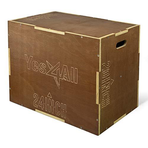 Yes4All Wooden Plyo Box - Vintage - Espresso - 30 x 24 x 20