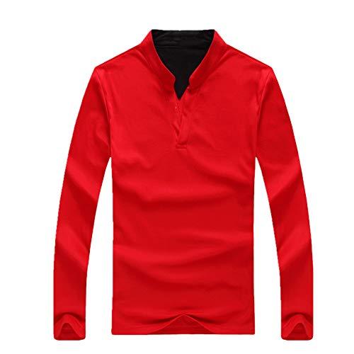 N\P - Camicia da uomo a maniche lunghe, larga, in tinta unita Colore: rosso XXL