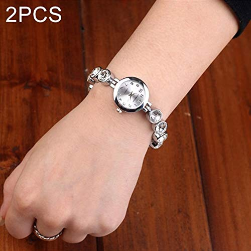 Waterdicht mode 2 PCS Beautiful Women's Pearl Watches (zilver). (Color : Silver)