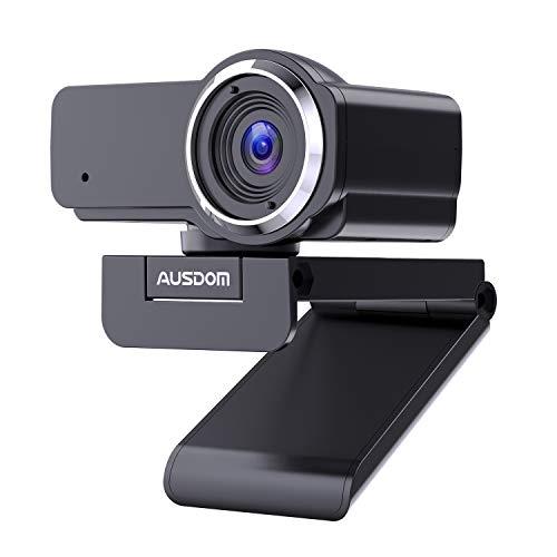 AUSDOM Webcam 1080P Full HD con Micrófono, Enfoque Manual USB Cámara P, Gran Angular para Video Chat/Grabación en Youtube/Skype, Compatible con Windows 7/8/10 / XP/Chrome/Mac OS