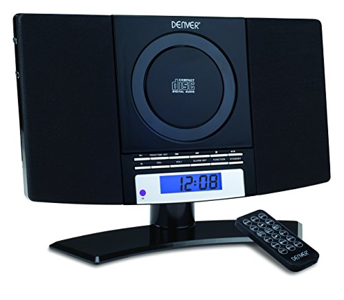 Denver Music Center (verticale CD-speler met LCD-display, AUX-In, wandhouder, wekkerradio) zwart