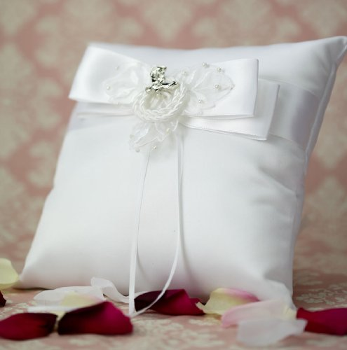 Western Cowboy Lasso Wedding Ring Bearer Pillow: Boot Color: Gold - Pillow Color: White