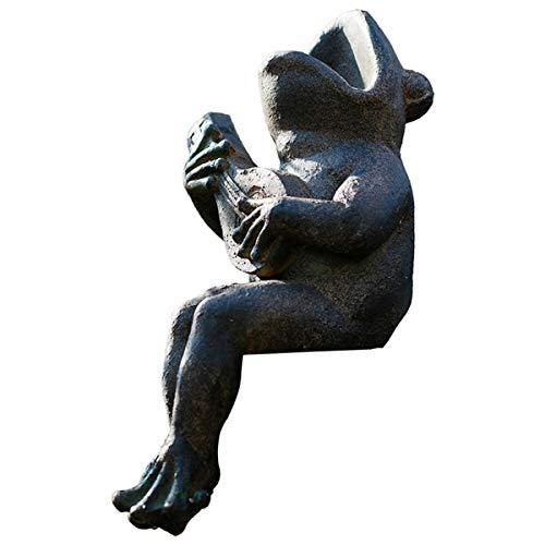 HQQ Garden Statue Frog Sculpture Outdoor Playing Guitar Frog Figurine Planter Pot Decoration for Home Garden Pot Decor