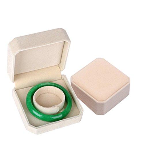 AMDXD Schmuckbox Charms Samt Armband Box Rechteck Geschenkbox Liebe Beige Schmuckkasten Vintage