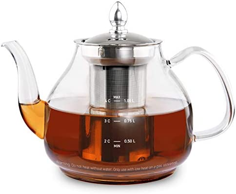 COSORI Glass Teapot Stovetop Safe Gooseneck Kettle with Removable Stainless Steel Infuser Scale product image