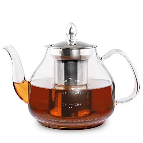 COSORI Glass Teapot with Removable Stainless Steel Infuser, BPA Free Durable Borosilicate Gooseneck kettle for Blooming and Loose Leaf Tea, 1000mL, Stovetop Safe