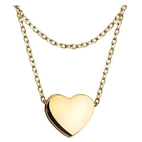 SOFIA MILANI Collar Mujer Cadena Colgante Corazón Plata de Ley Chapado en Oro Amarillo 50285