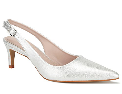 MaxMuxun Pumps Slingback Sandalen Absätze für Damenschuhe Braut Rock Pumps Silber Größe 40 EU