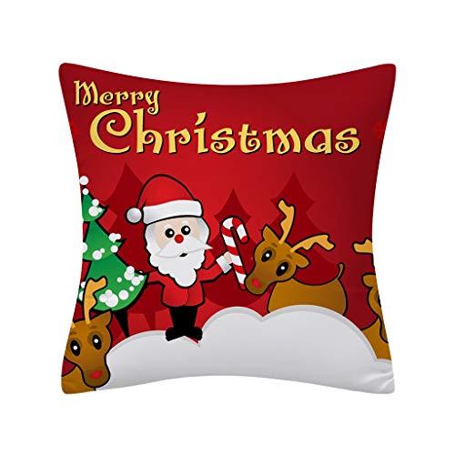 Lilicat 45 x 45 cm Weihnachtsmann Kissenbezug Winter Dekokissen Kurzvelours Kissenbezug Kissen Weich mit Drucken Mustern Dekokissenbezüge für Sofa Auto Terrasse Zierkissenbezüge