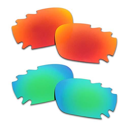 SOODASE Para Oakley Racing Jacket Vented Gafas de sol Rojo/Verde 2 Pares Lentes de repuesto polarizadas