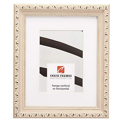 Craig Frames Ancien Ornate, 16 x 20 Inch Picture Frame Matted to Display a 11 x 14 Inch Photo, Off-White