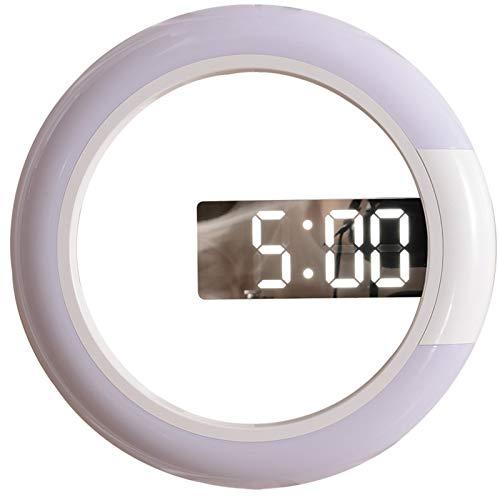 GAOJIN Reloj de Pared, Control Remoto Reloj de Pared Digital Reloj de Pared de Espejo LED Creativo con Anillo Multicolor Luz de Pared de 12 Pulgadas Redonda de Pared Hueca con interrupción de Color
