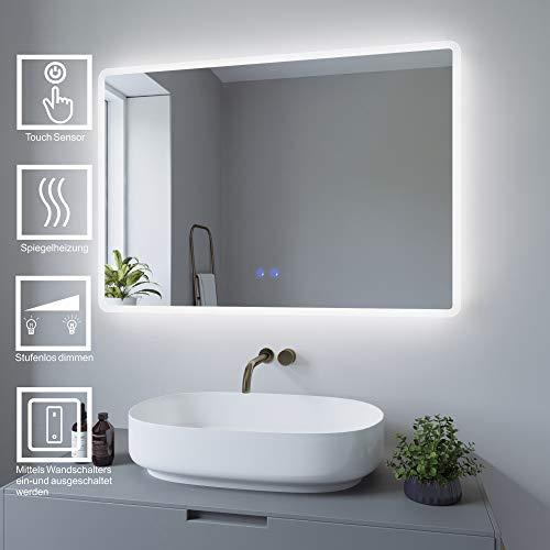 AQUABATOS 100x70cm Badspiegel mit Beleuchtung Badezimmerspiegel LED Lichtspiegel Wandspiegel Energiesparend. Touch-Schalter Dimmbar, Kaltweiß 6400K, Warmweiß 3000K, Spiegelheizung, IP44, CE