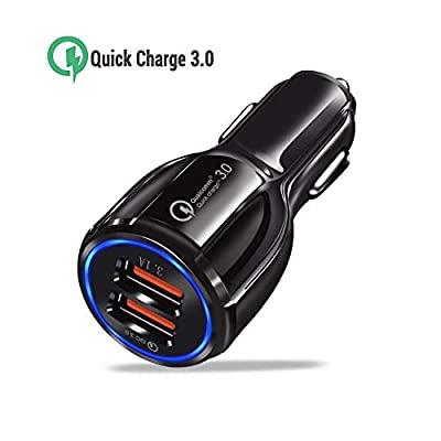 ULTRICS USB Car Charger, Quick Charge 3.0 30W/ 12V/ 5A 2-port In-Car Charging Adapter Compatible with iPhone 11 Pro/XS Max/XR/X, iPad Pro/Air 3/ Mini 5, Samsung S10/ S10e/ S9/ A90, Note 10/9 Plus