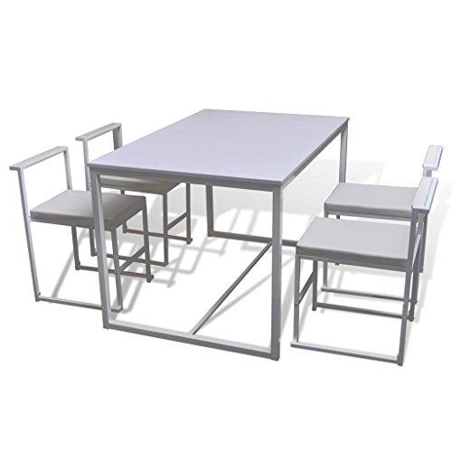 vidaXL Set Tavolo Pranzo sedie Soggiorno Sala da Pranzo 1 Tavolo 4 sedie Bianco