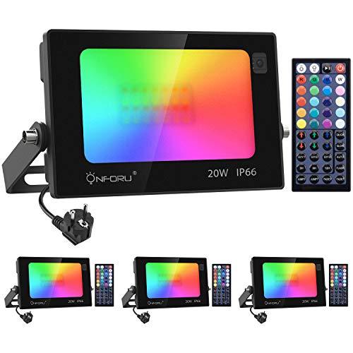 Onforu 4 Pezzi 20W Faretto LED RGB Colori, Proiettore LED Colorato con Telecomando, IP66 Impermeabile Esterno e Interno Faro RGB per...