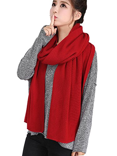 Wander Agio Women#039s Warm Long Shawl Winter Scarfs Large Scarf Pure Color Wine Red