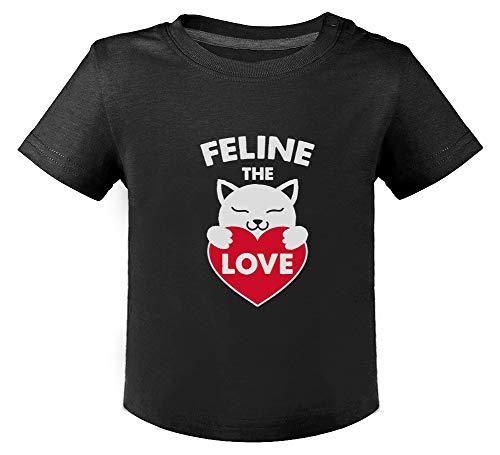 Chat Feline The Love Humour Cute T-Shirt Bébé Unisex 12M Noir