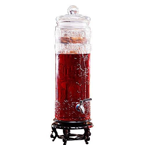 CSQHCZS-FQ Inmaakglazen drankdispenser en glazen deksel | Lekvrij dennenappels | Robuust frame | 5 l / 7,5 l / 10 l | Glaswaren voor koud water, sap, bier, wijn, jenever, koude drank ++