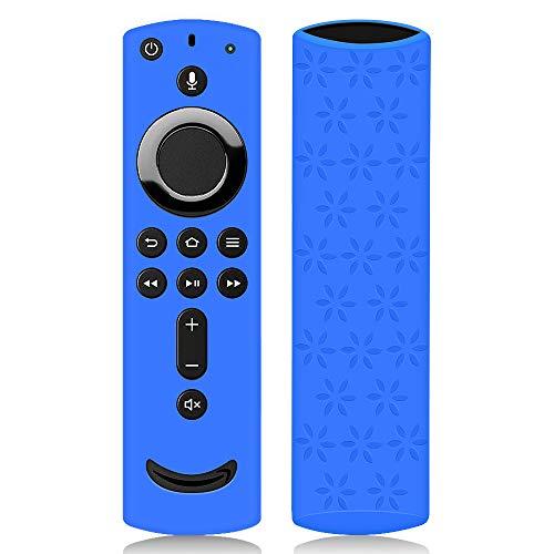 Funda de Silicona para Fire TV Stick 4K Control Remoto [Antideslizante] Suave Carcasa de Protectora Silicona a Prueba de Golpes para Mando de Fire TV Stick con Alexa Voice Remote (Azul)