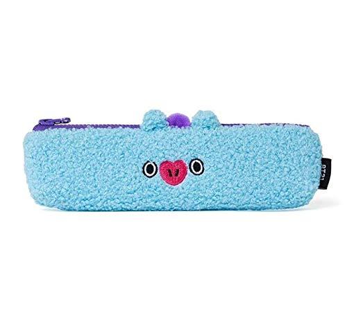 BT21 Official Merchandise by Line Friends - MANG Character Soft Boucle Pencil Pen Case Bag Pouch with Zipper, Blue/Purple