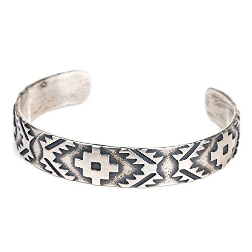 Tskies Skyweaver Sterling Silver Bracelet for Women Navajo Rug Cuff Design Luxury Southwest