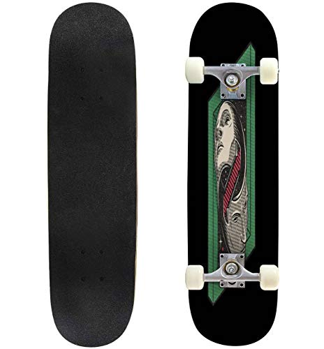 31'' Complete Skateboards The Solipsist Standard Skateboards for Beginners Kids Adults, Maple Double Kick Deck Concave Skate Board Longboard