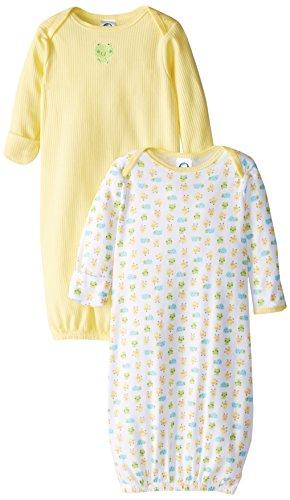 Gerber Unisex-Baby Newborn 2 Pack Hippo Gown, Hippo Blue, 0-6 Months