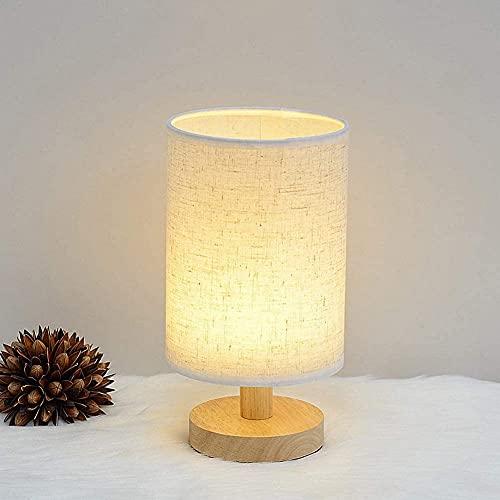 Lámpara de noche moderna Lámpara de mesa LED regulable Lámpara de escritorio de madera maciza con base redonda para dormitorio para sala de estar Lámpara de oficina con pantalla de tela para habitaci