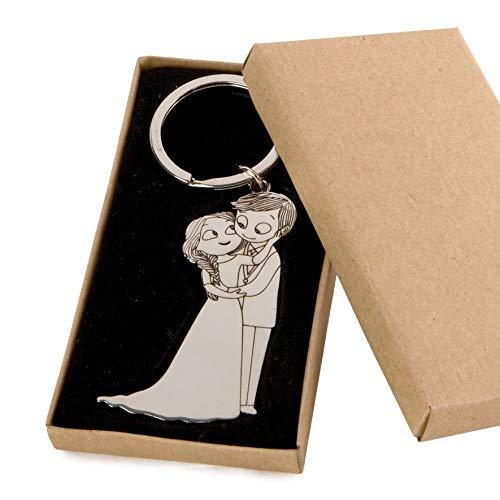 Mopec- M491 - Portachiavi con sposi, Motivo: sposi, in Confezione Regalo, Multicolore