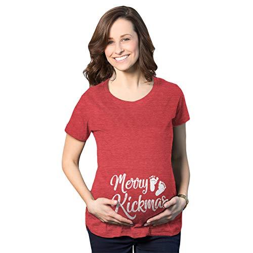 Crazy Dog Tshirts - Maternity Merry Kickmas Pregnancy Tshirt Cute Christmas Tee (Heather Red) - L - Femme
