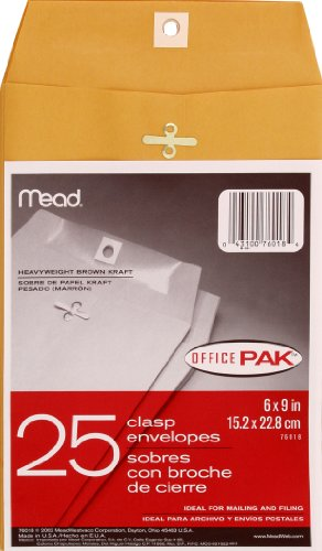 Mead 6X9 Clasp Envelopes, Office Pack 25 Count (76018)