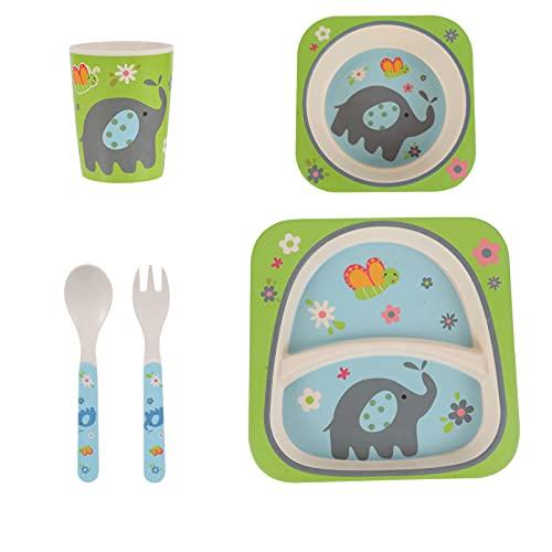 TOYANDONA Juego de 5 Piezas de Vajilla para Niños con Forma de Elefante de Bambú Juego de Comedor para Niños con Taza Tenedor Cuchara para Niños Animales Cumpleaños