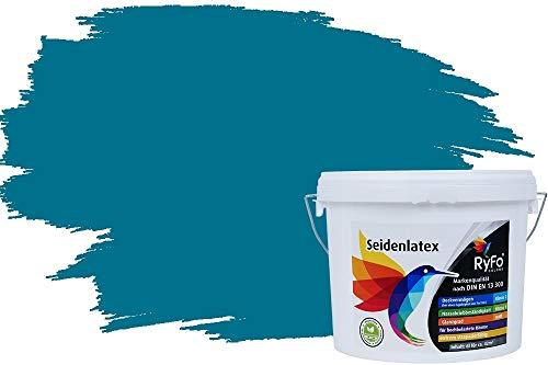 RyFo Colors Seidenlatex Trend Grüntöne Dunkeltürkis 6l - bunte Innenfarbe, weitere Grün Farbtöne und Größen erhältlich, Deckkraft Klasse 1