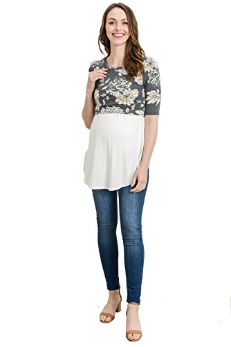 Hello MIZ Womens Maternity Nursing Tunic Top with Empire Waist