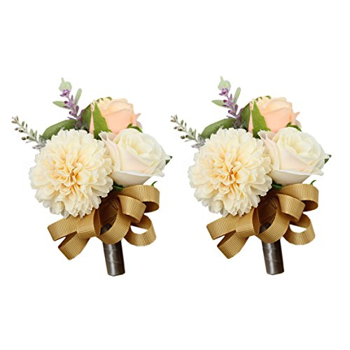 USIX 2pc Pack-Handmade Men's Lapel Artificial Rose Dahlia Flower Boutonniere Pin for Suit Wedding Groom Groomsmen Brooch Rose Boutonniere (Gold Boutonniere x2)