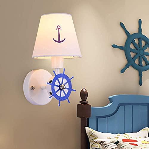FXLYMR Wall Lamp Chandelier Luxury Fashion Mediterranean Children, Creative Ship Ruder E14 Bedroom Bedside Lamp Guys Mushes Student Interior Lights