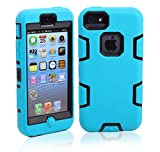5C Case, iPhone 5C Case Cover, Magicsky Full Body Hybrid Impact Shockproof Defender Case Cover for Apple iPhone 5C, 1 Pack(Black/Blue)