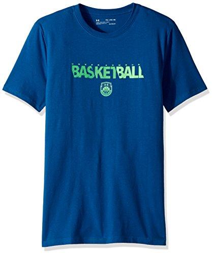 Under Armour Boys' Basketball Wordmark T-Shirt, Moroccan Blue (487)/Arena Green, Youth Medium
