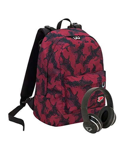 Zaino SEVEN THE DOUBLE - DAGGER - Bordeaux - Cuffie wireless - 2 zaini in 1 REVERSIBILE
