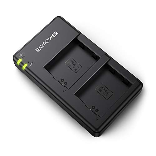 NP-FW50 RAVPower Dual Slot Battery Charger Compatible with Sony NP FW50 Batteries for A6000, A6500, A6300, A6400, A7, A7II, A7RII, A7SII, A7S, A7S2, A7R, A7R2, A55, A5100, RX10 Camera and More