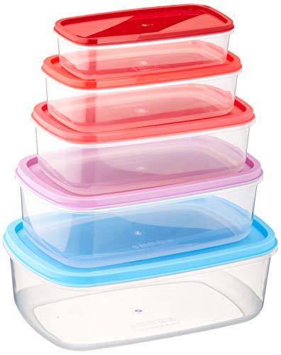 Quid Habitat Lot de 5 hermétiques rectangulaires, empilables et emboîtables, sans BPA, en plastique