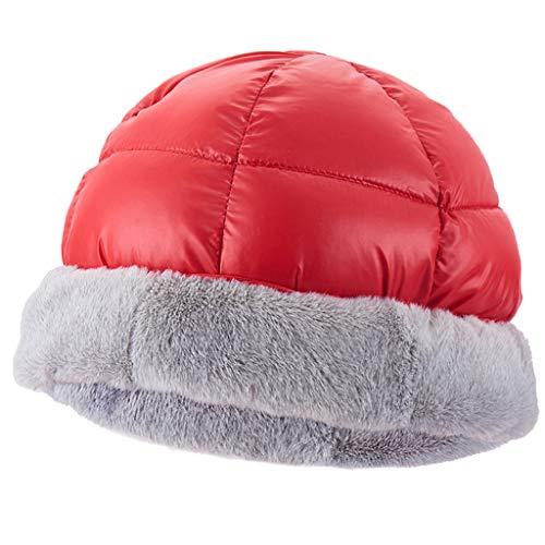 Herren Frauen Daunenhut Kopf Mütze Unisex Hut für Outdoor, Camping, Wandern, Reise, Klettern - rot