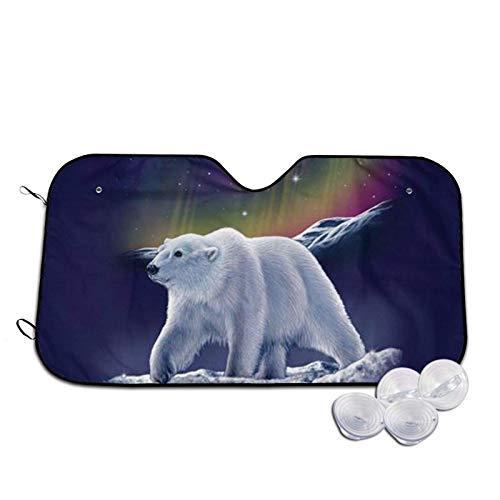 Northern Lights - Parasol para parabrisas de coche con estampado de oso polar