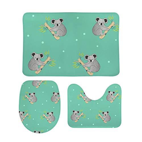 Lafle - Set di tappetini Antiscivolo per Il Bagno, Motivo: orsi Koala + copriwater + Tappetino da Bagno, 3 Pezzi