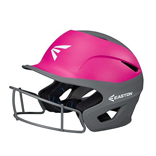 EASTON PROWESS Fastpitch Softball Batting Helmet with Mask | Small / Medium | Matte Pink / Charcoal | 2020 | Multi-Density Impact Absorption Foam | High Impact Lightweight Shell | BioDRI Liner