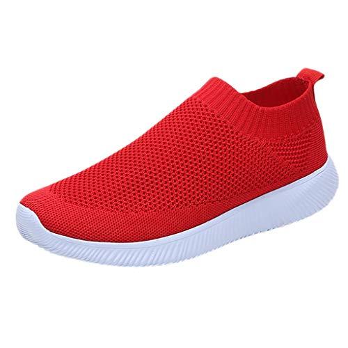 VJGOAL Damen Sneaker, 2020 Neu Frauen Outdoor Schuhe Freizeit Slip On Bequeme Sohlen Sports Atmungsaktiv Mesh Schuhe (Rot, 42)