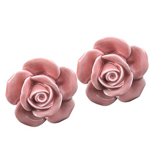 Wakauto 2 Stück Rosafarbene Schubladengriffe Dekorative Zugknöpfe für Schrank Schrank Kleiderschrank Kommode Moderne Keramik Türgriff (Rosa)